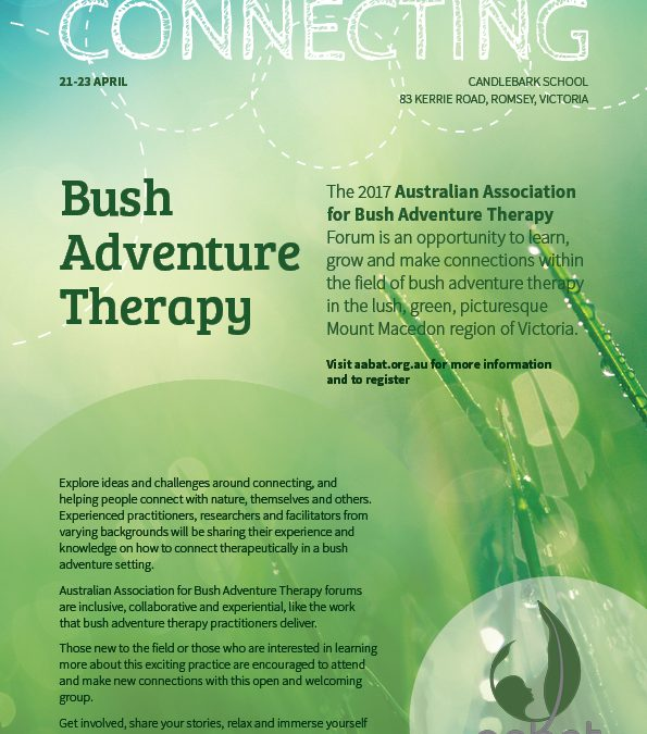 Bush Adventure Therapy national forum 2017 flyer