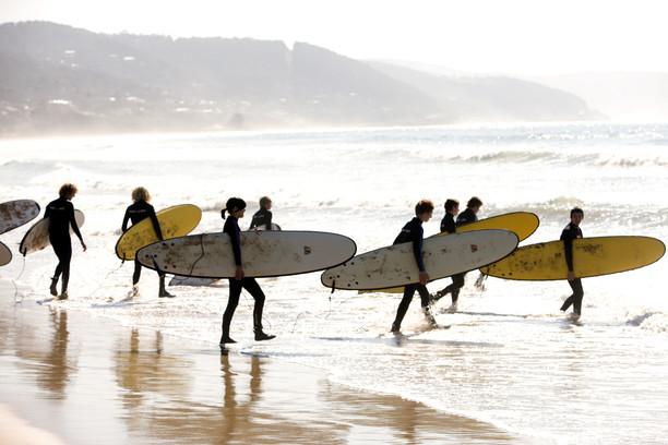 4 sea kayaks in the ocean